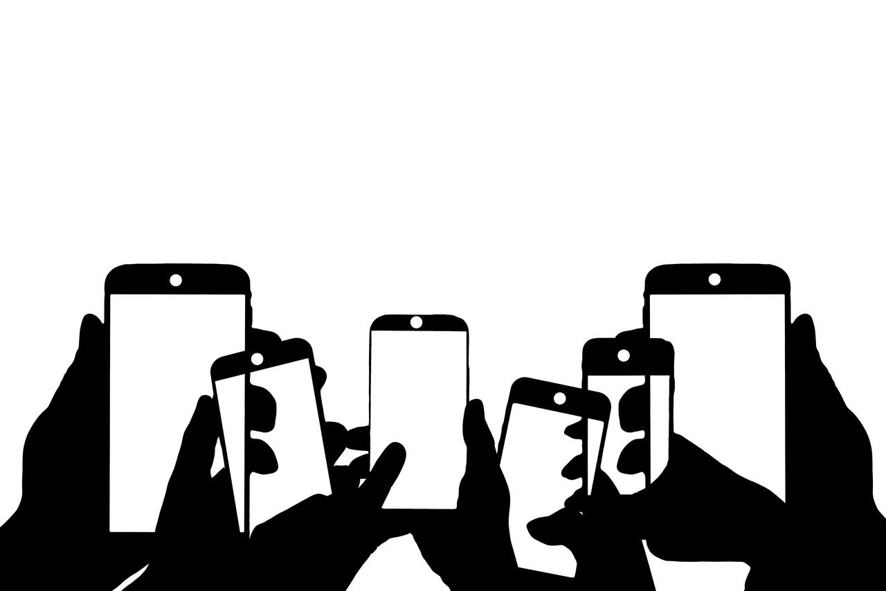Grafik von Händen mit Smartphones