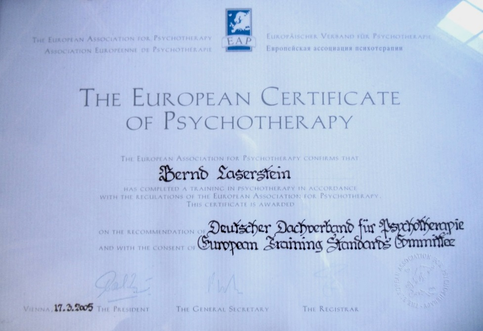 The European Certificate of Psychotherapie vom 17.03.2005